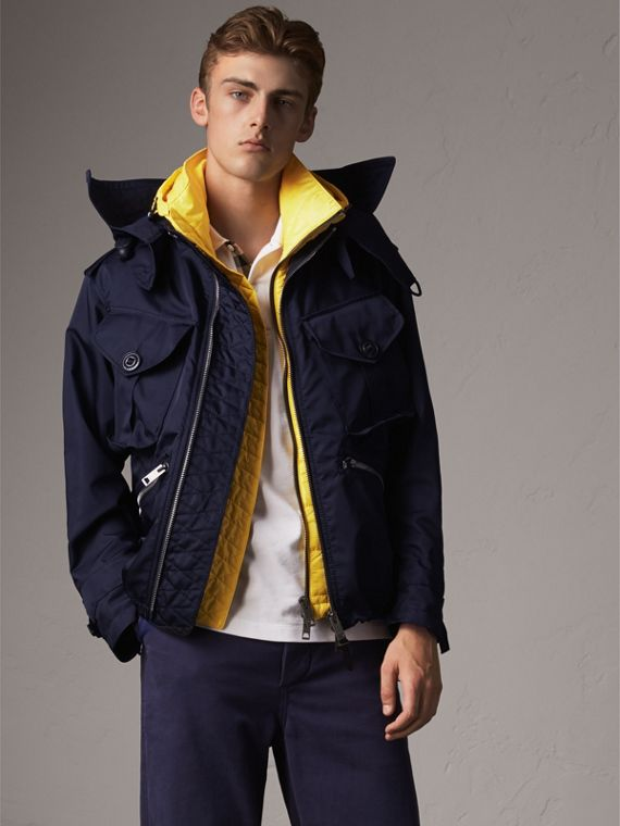 Technical Cropped Parka with Down-filled Warmer in Navy