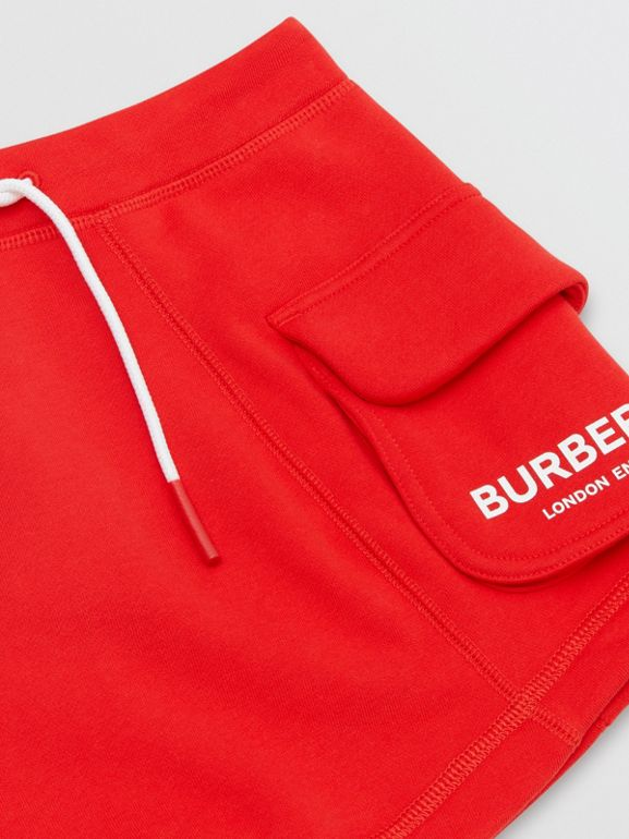Logo Print Cotton Drawcord Shorts in Bright Red | Burberry United Kingdom - cell image 1
