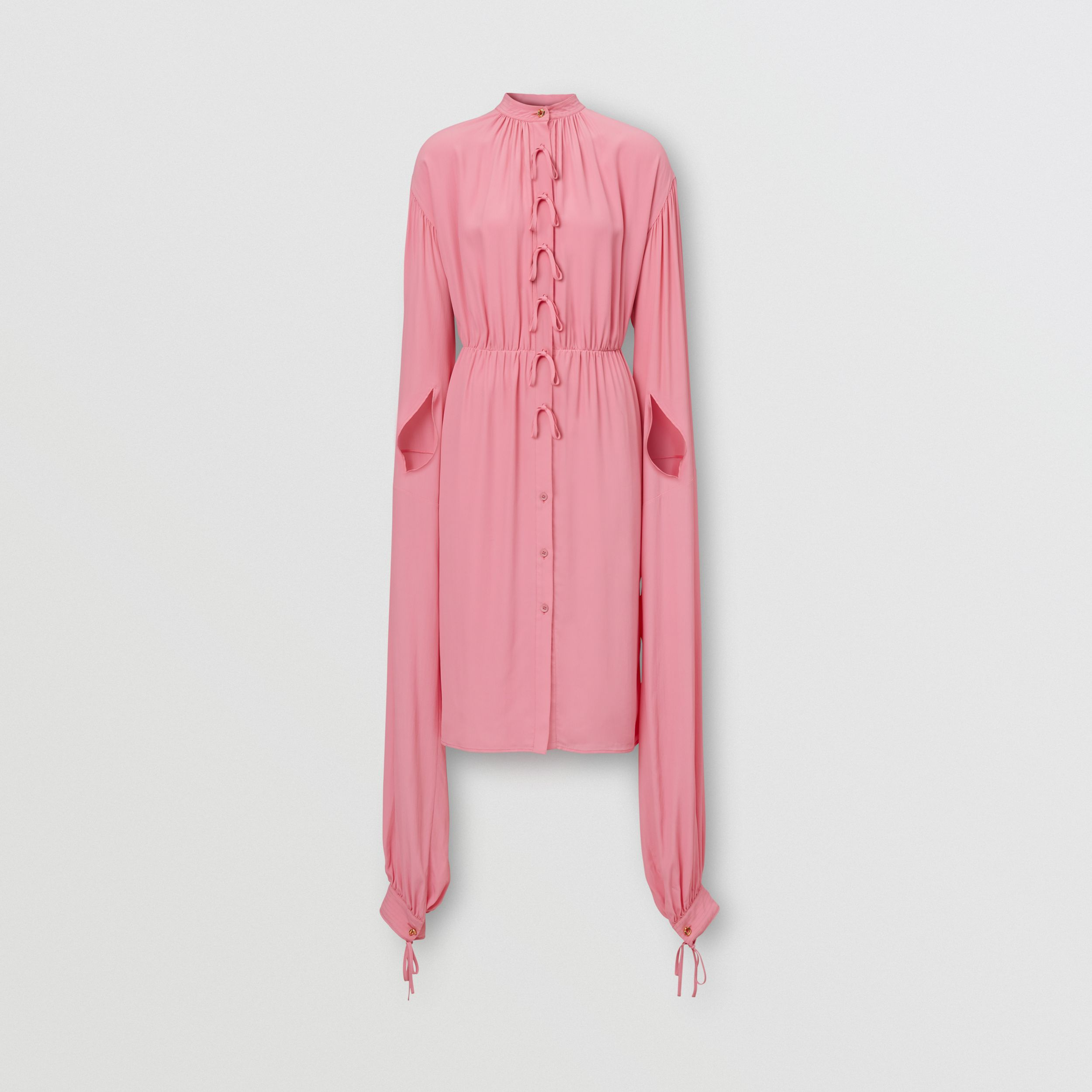 Loop-back Sleeve Silk Crepe De Chine Dress in Bubblegum Pink - Women | Burberry Australia - 4