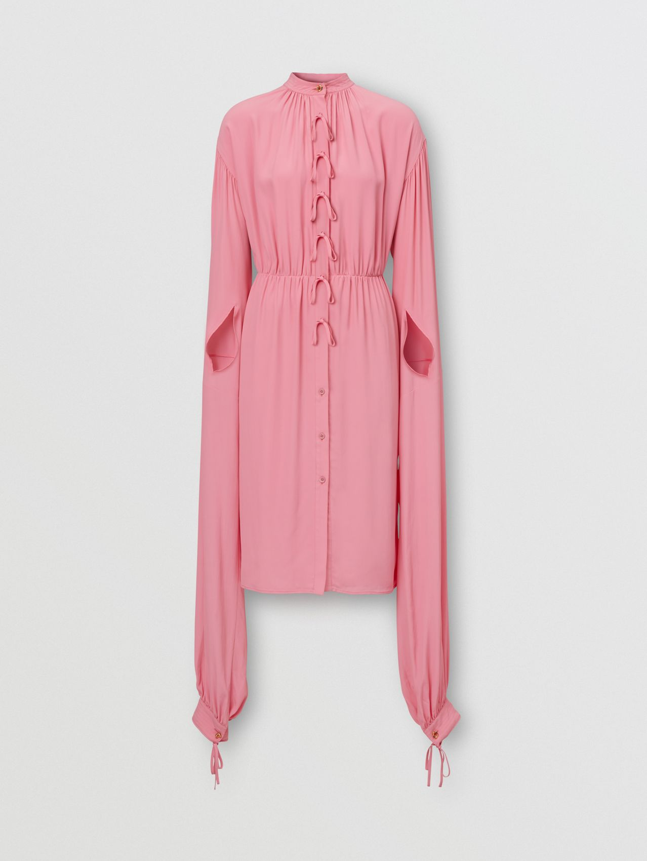 Loop-back Sleeve Silk Crepe De Chine Dress in Bubblegum Pink