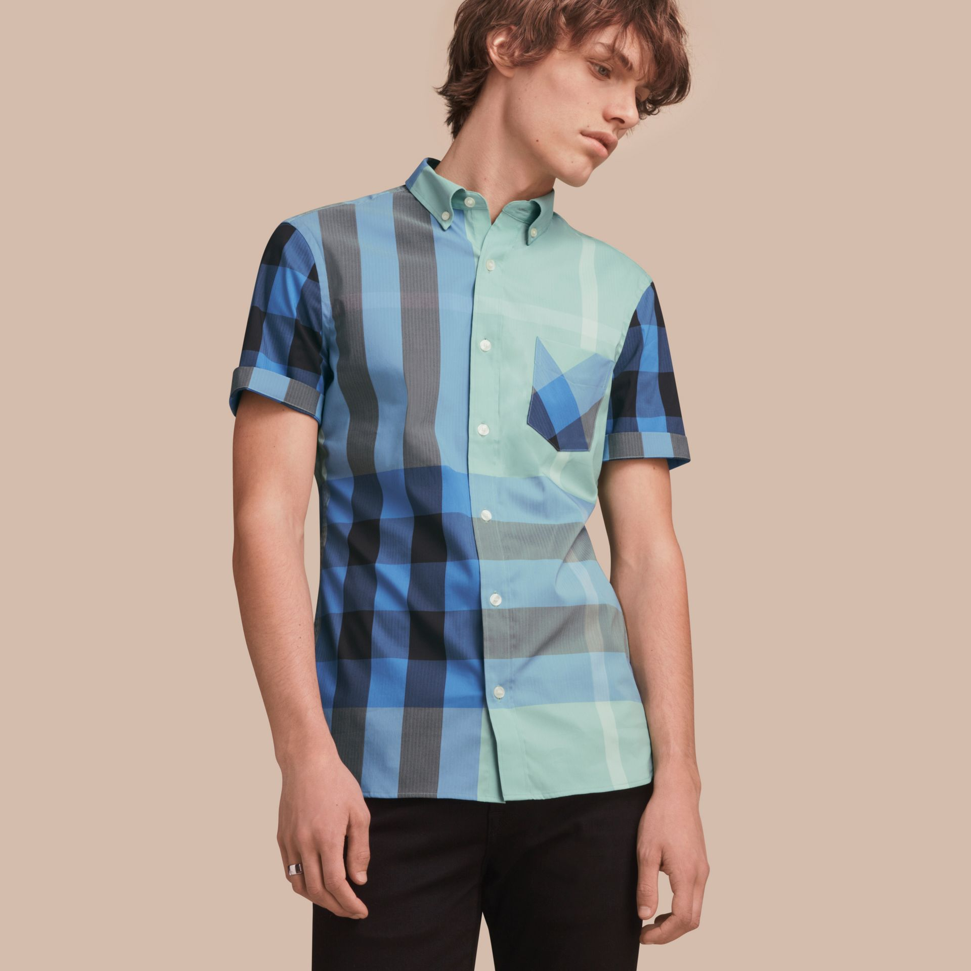 Short-sleeve Check Stretch Cotton Blend Shirt Pale Opal - gallery image 1