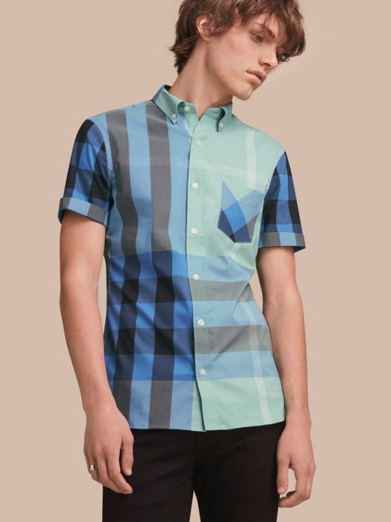 Short-sleeve Check Stretch Cotton Blend Shirt Pale Opal