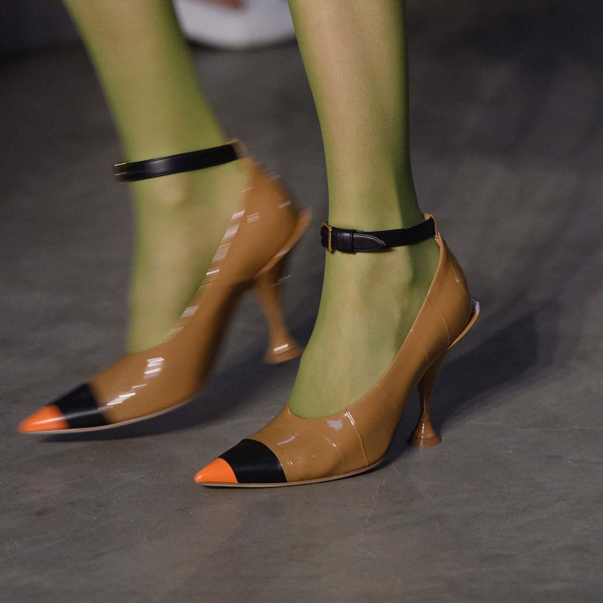 Tape Detail Leather Point-toe Pumps in Brown / Black - Women | Burberry - gallery image 1