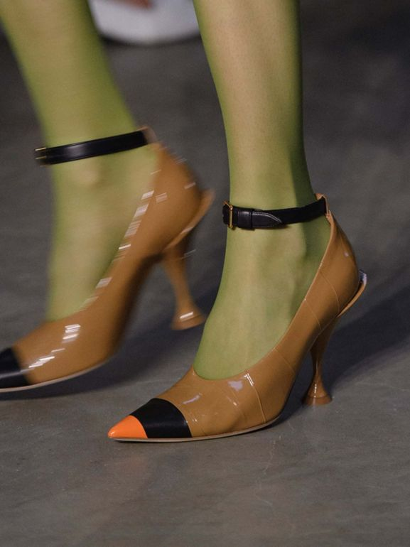 Tape Detail Leather Point-toe Pumps in Brown / Black - Women | Burberry - cell image 1