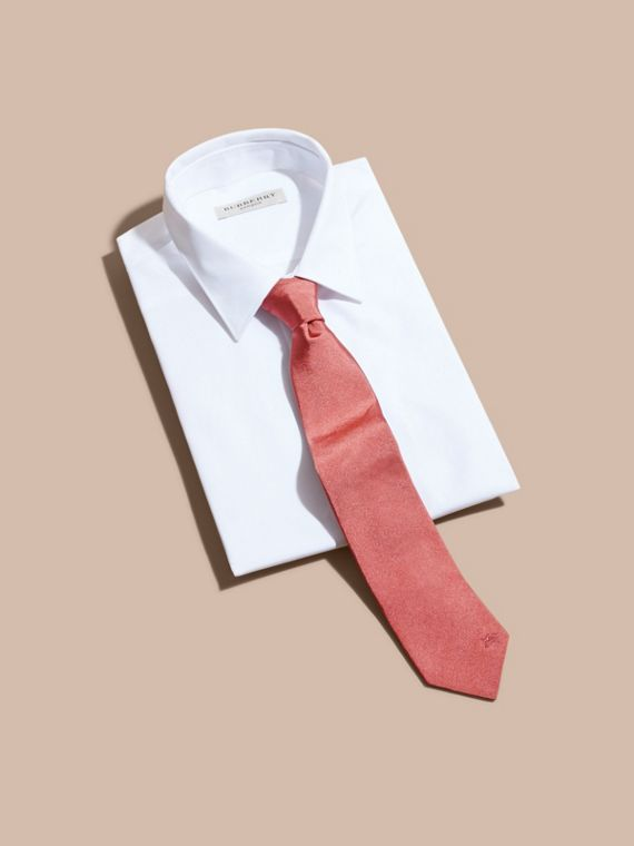 Modern Cut Silk Twill Tie in Bright Rose - Men | Burberry - cell image 3