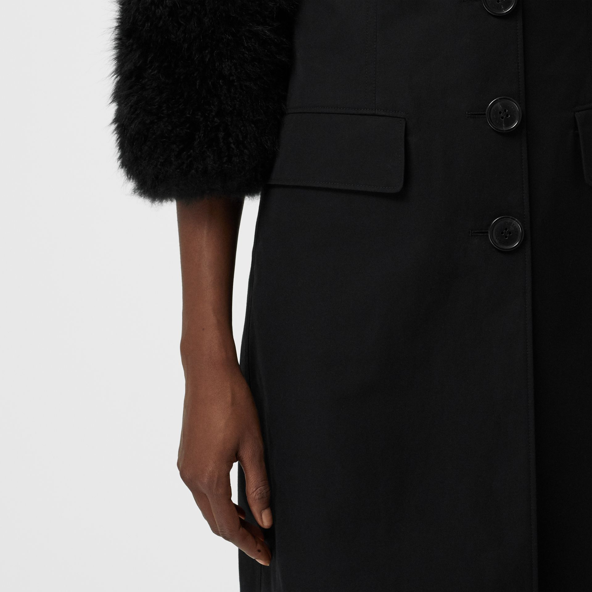Goat Hair Trim Cotton Gabardine Coat in Black - Women | Burberry United Kingdom - gallery image 4