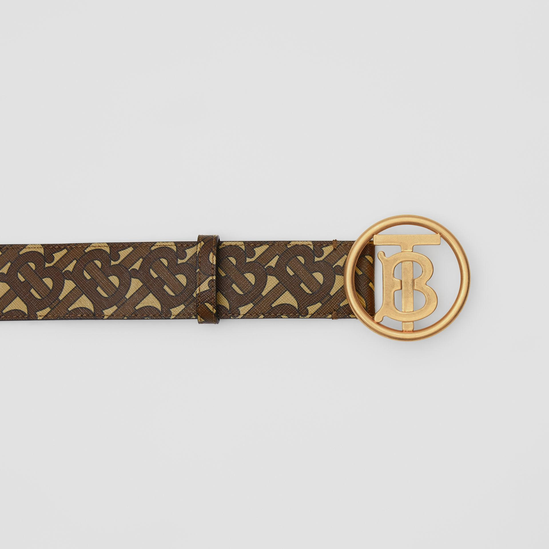 Monogram Motif Monogram Print E-canvas Belt in Bridle Brown - Women | Burberry United Kingdom - gallery image 1