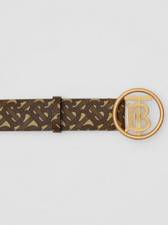 Monogram Motif Monogram Print E-canvas Belt in Bridle Brown - Women | Burberry United Kingdom - cell image 1