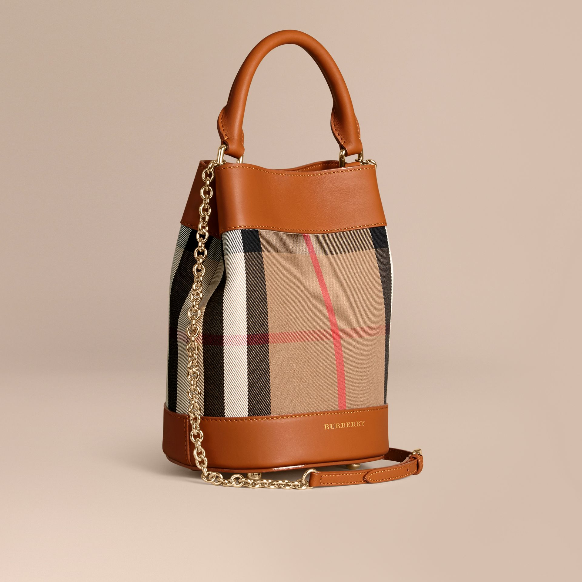 Light toffee The Small Bucket Bag in House Check and Leather Light Toffee - gallery image 1