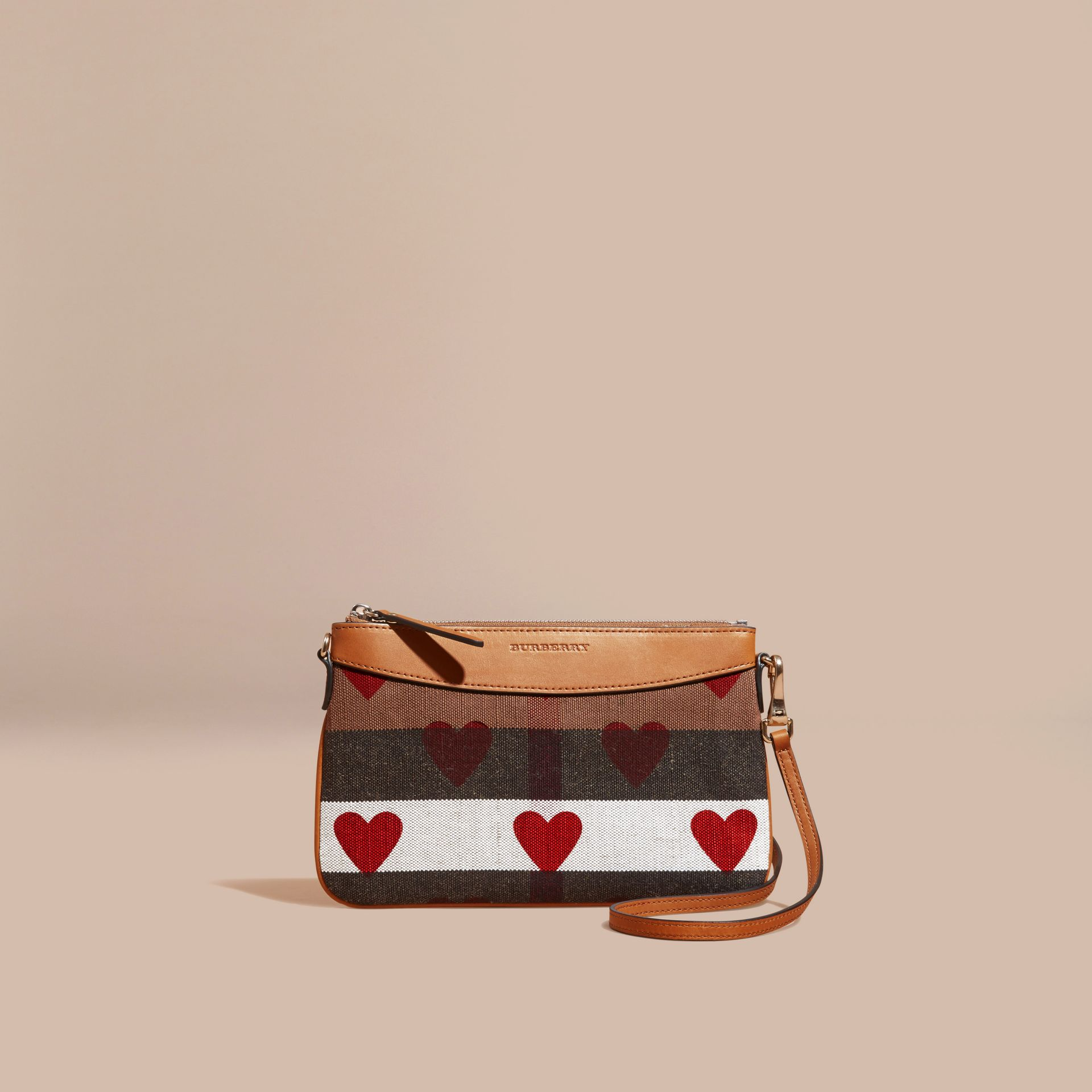 Parade red Heart Print Canvas Check Clutch Bag Parade Red - gallery image 9