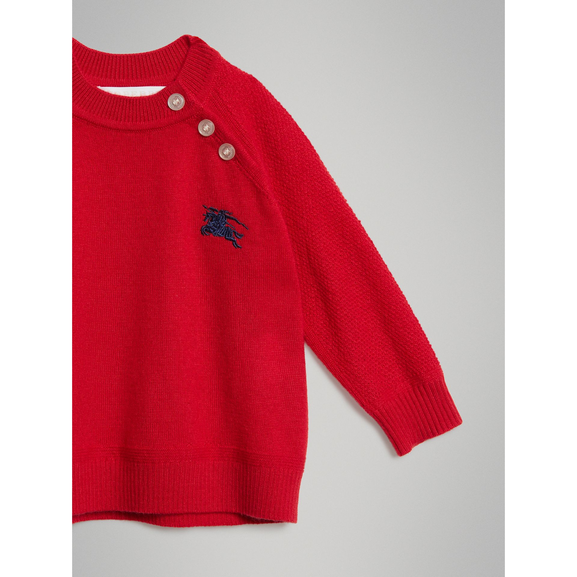 Contrast Motif Cashmere Sweater in Burgundy Red - Children | Burberry United Kingdom - gallery image 4
