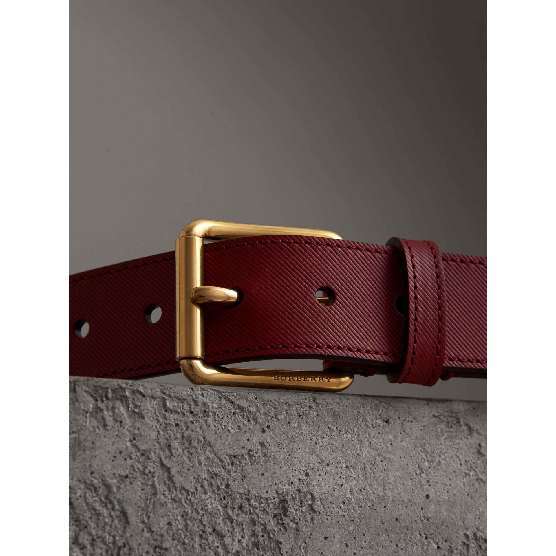 Trench Leather Belt in Antique Red - Men | Burberry United Kingdom - gallery image 1