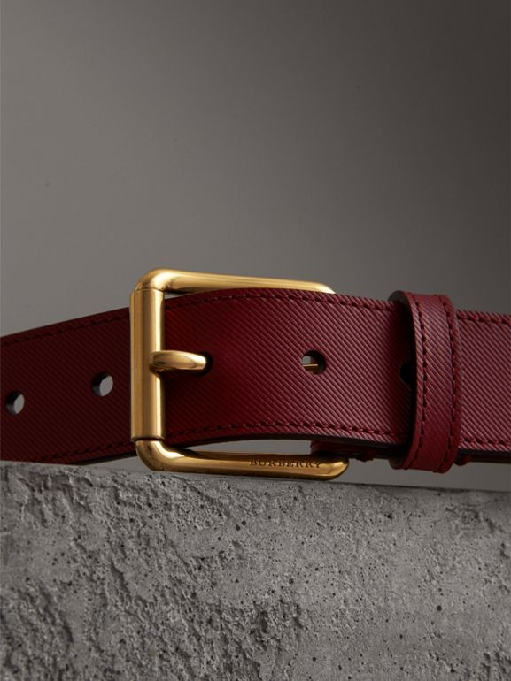 Trench Leather Belt in Antique Red - Men | Burberry United Kingdom - cell image 1