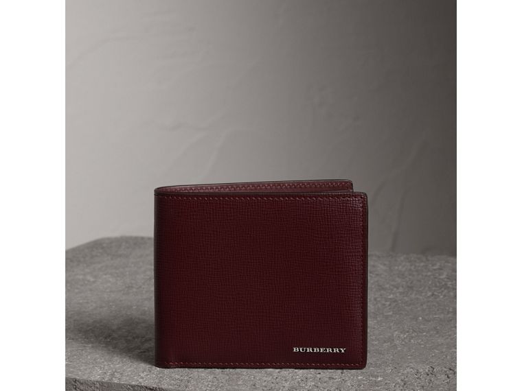 London Leather International Bifold Wallet in Burgundy Red | Burberry Singapore - cell image 4