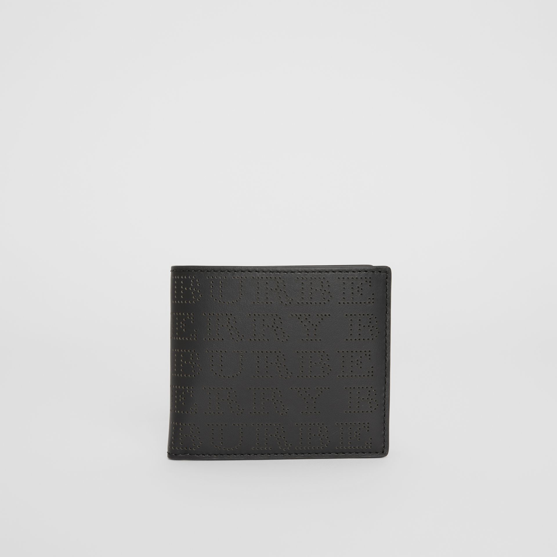 Perforated Logo Leather International Bifold Wallet in Black - Men | Burberry Canada - gallery image 0