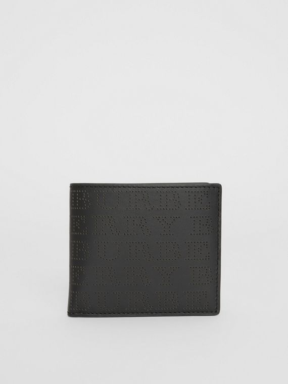 Perforated Logo Leather International Bifold Wallet in Black