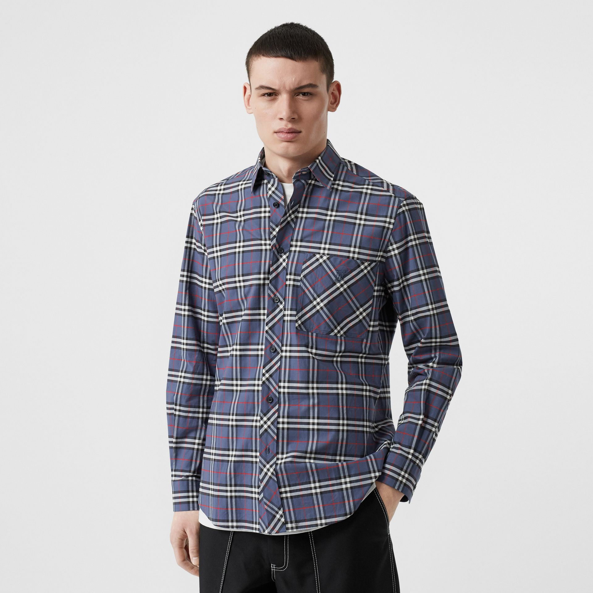 Small Scale Check Stretch Cotton Shirt in Carbon Blue - Men | Burberry Hong Kong - gallery image 0