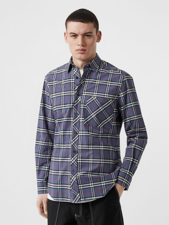 Small Scale Check Stretch Cotton Shirt in Carbon Blue