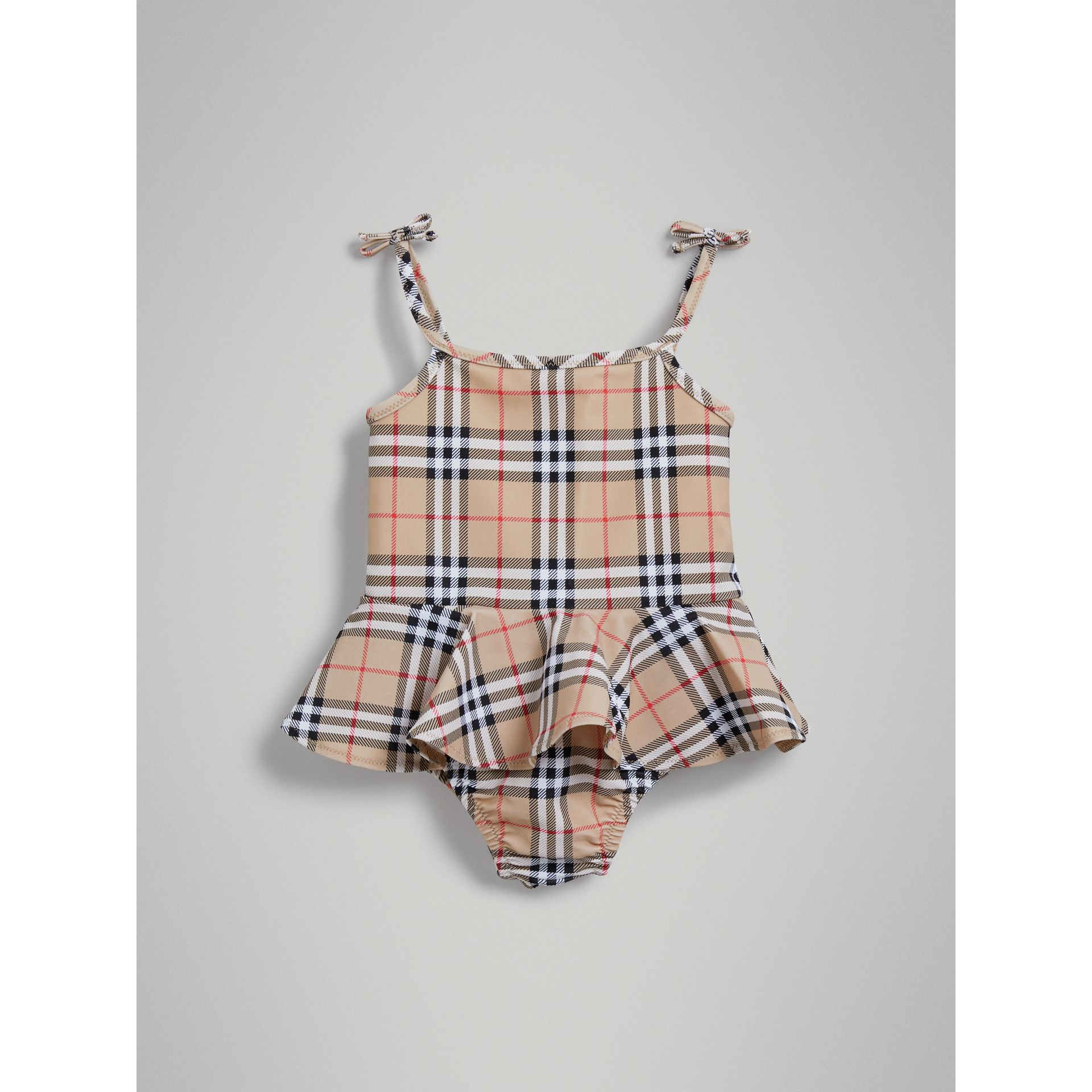 Ruffle Detail Vintage Check One-piece Swimsuit in Camel | Burberry - gallery image 2