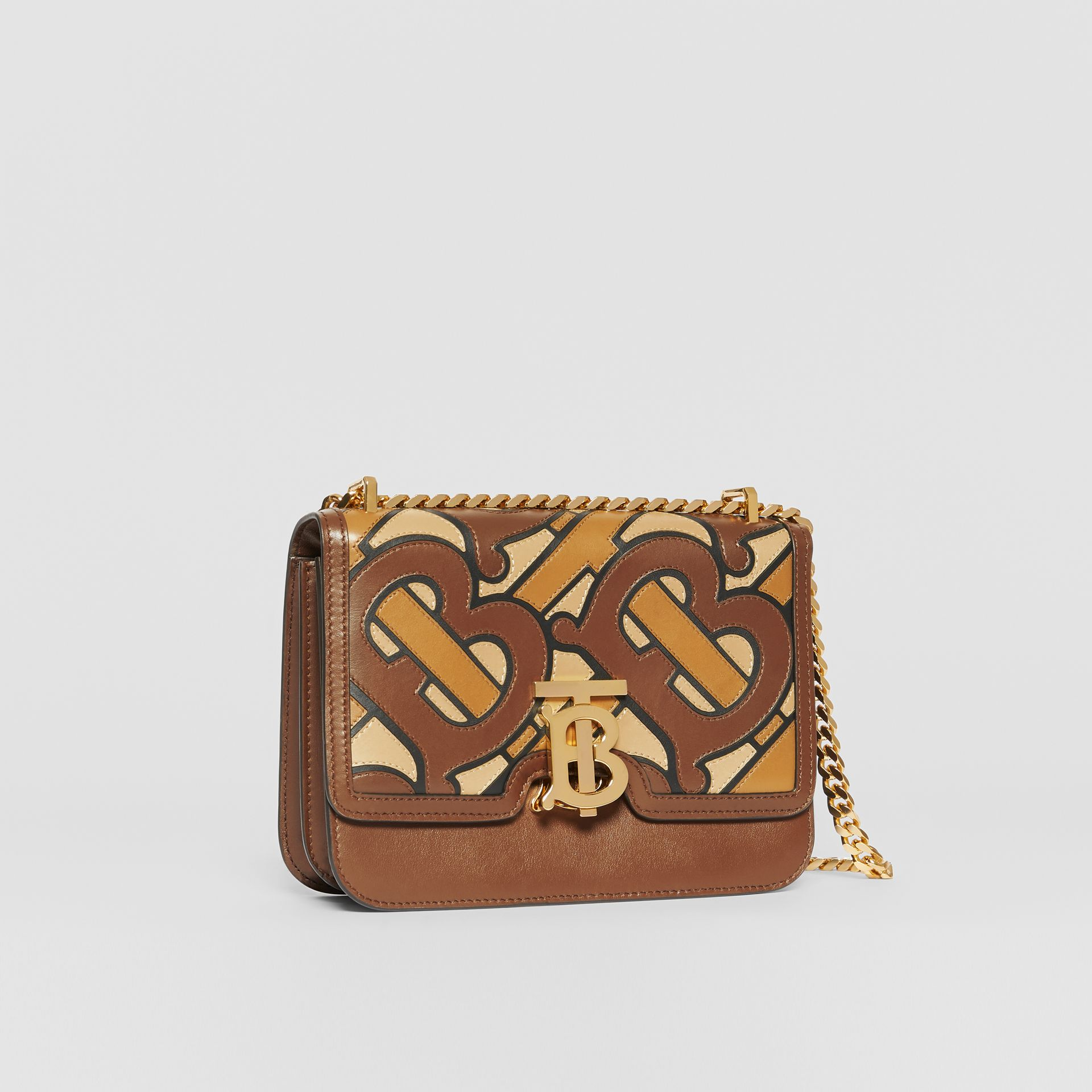 Small Monogram Appliqué Leather TB Bag in Brown - Women | Burberry - gallery image 6