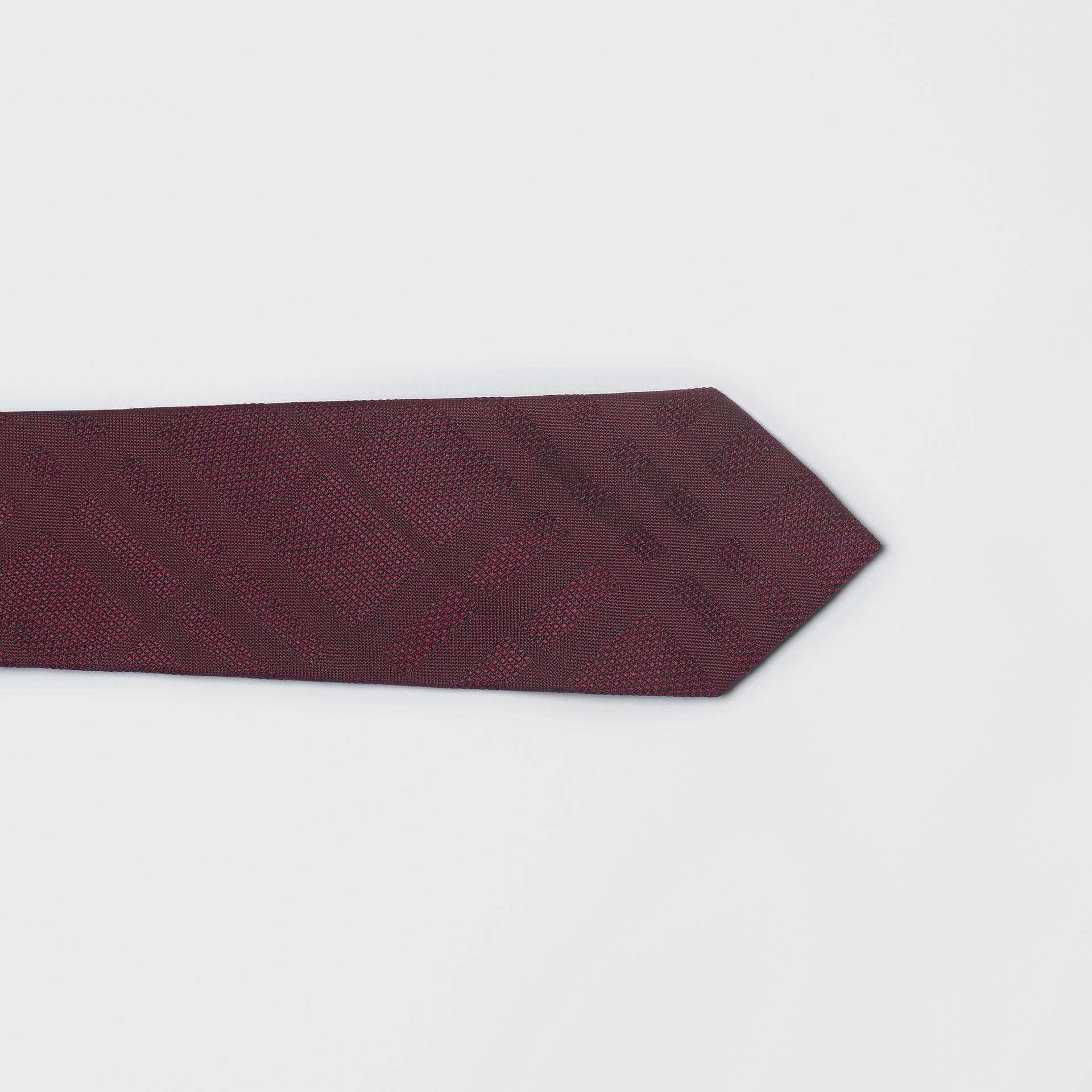 Modern Cut Check Silk Tie in Deep Claret - Men | Burberry United Kingdom - gallery image 1