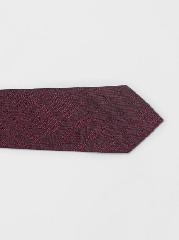 Modern Cut Check Silk Tie in Deep Claret - Men | Burberry United Kingdom - cell image 1