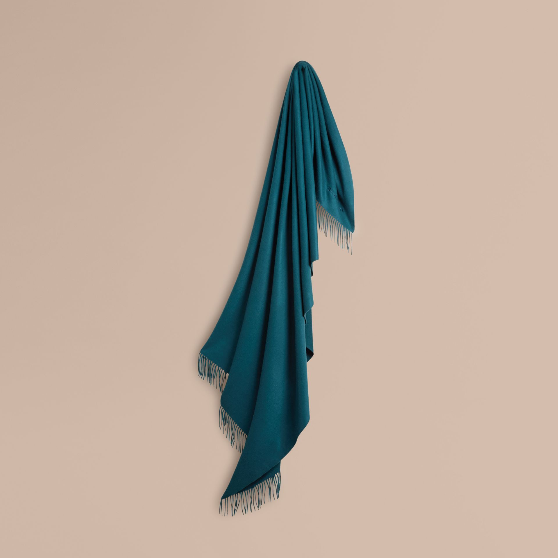 Cashmere Blanket in Dark Teal | Burberry United Kingdom - gallery image 1