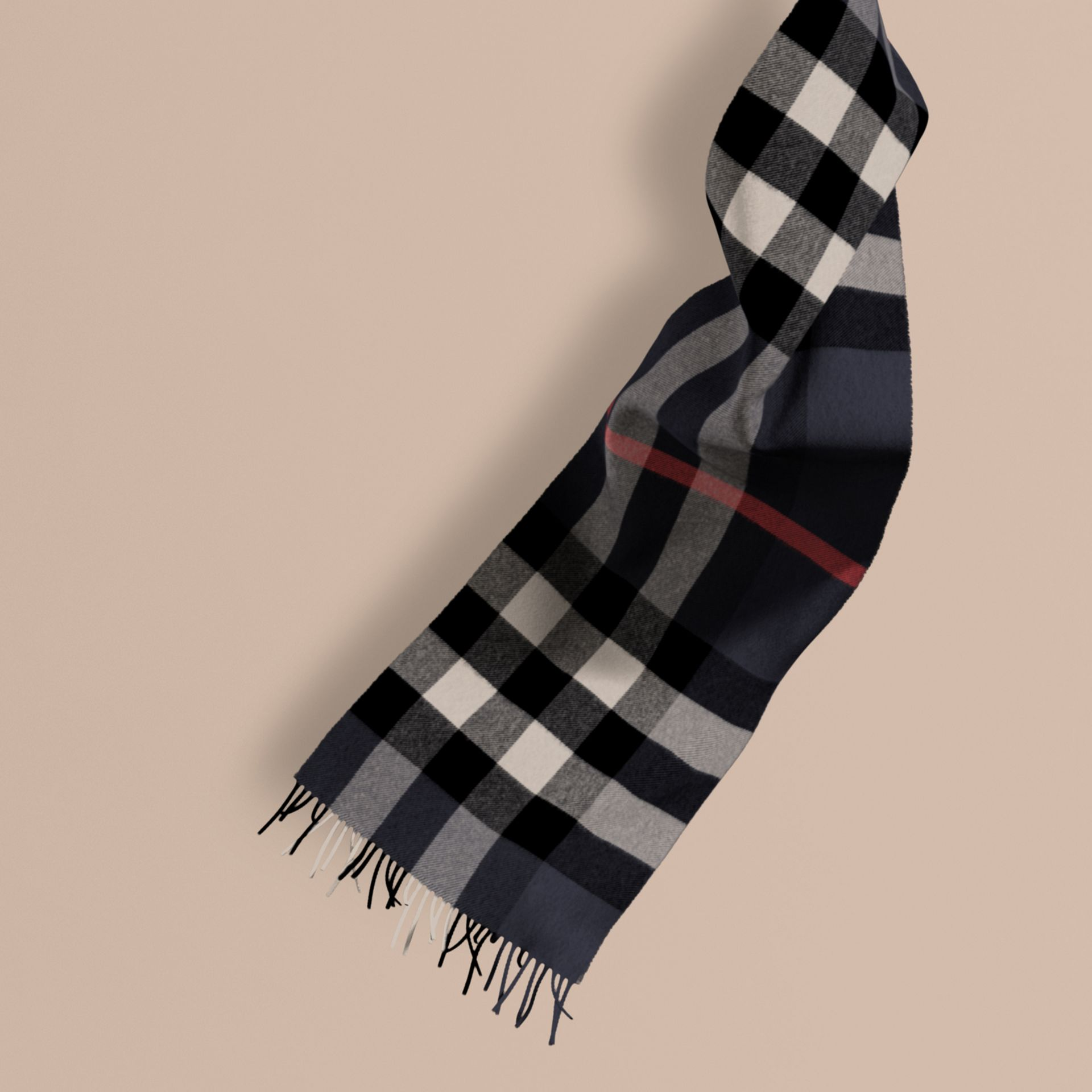 The Large Classic Cashmere Scarf in Check in Navy - gallery image 1