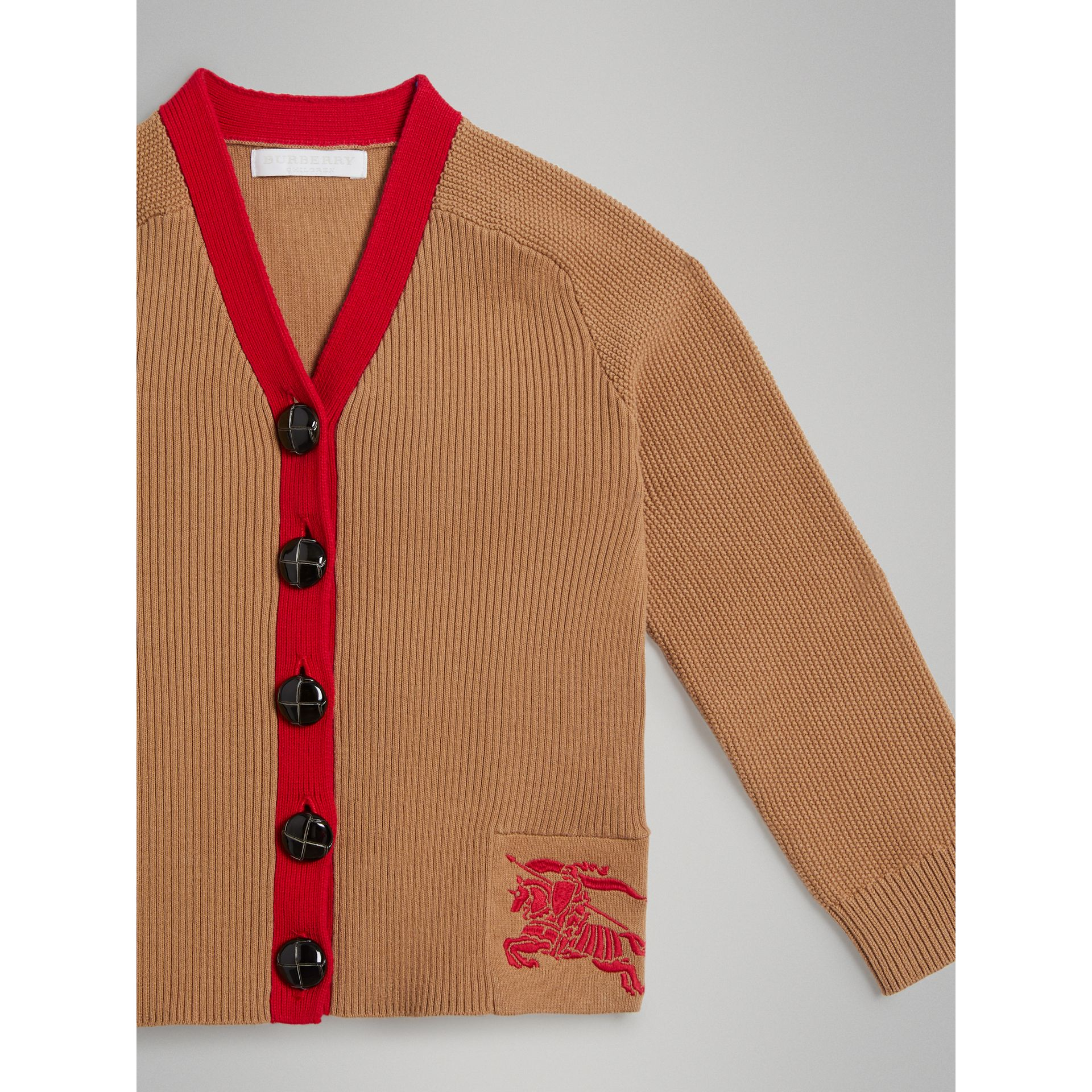 Two-tone Cotton Knit Cardigan in Camel | Burberry - gallery image 4