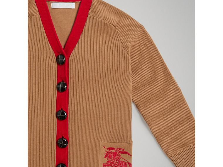 Two-tone Cotton Knit Cardigan in Camel - Girl | Burberry Singapore - cell image 4