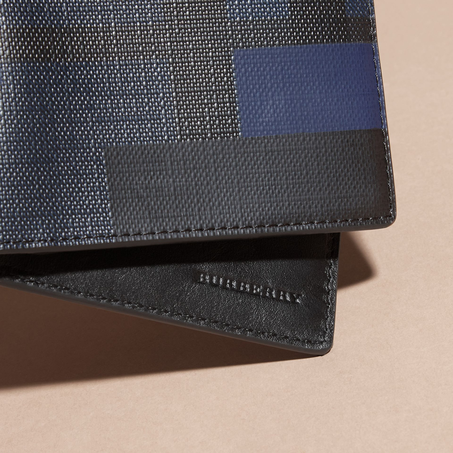 Navy/geometric Colour Block and London Check Folding Wallet - gallery image 2