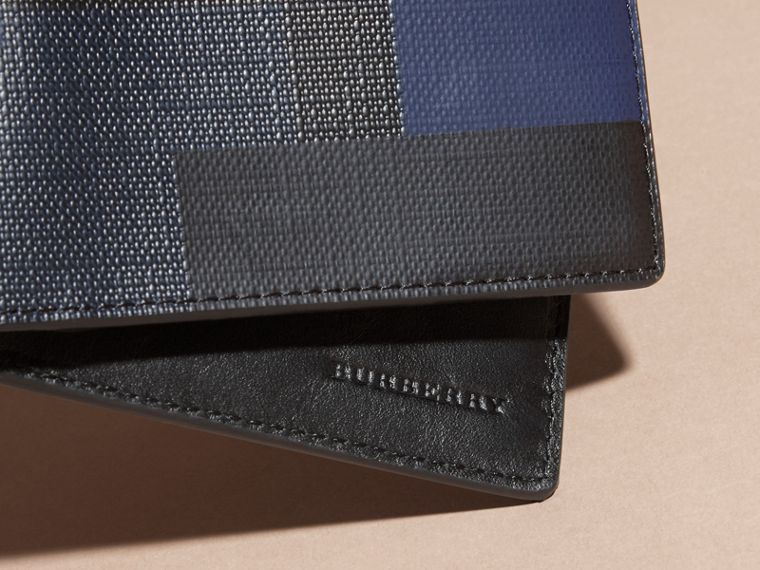 Navy/geometric Colour Block and London Check Folding Wallet - cell image 1