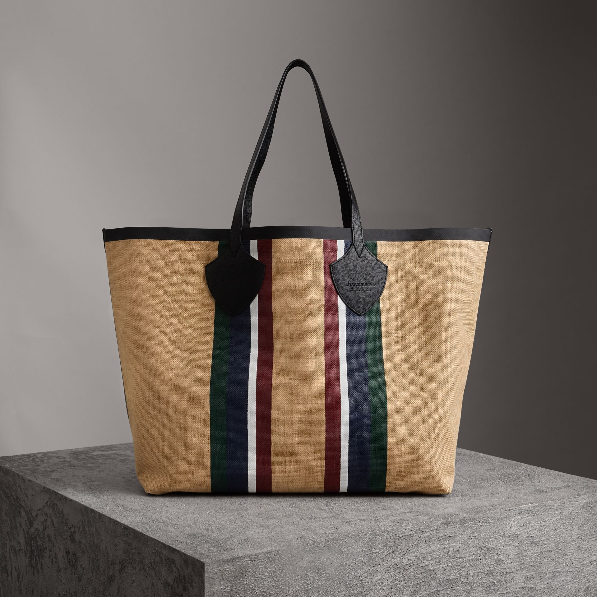 The Giant Tote in Striped Jute in Black - Women | Burberry United Kingdom - gallery image 0