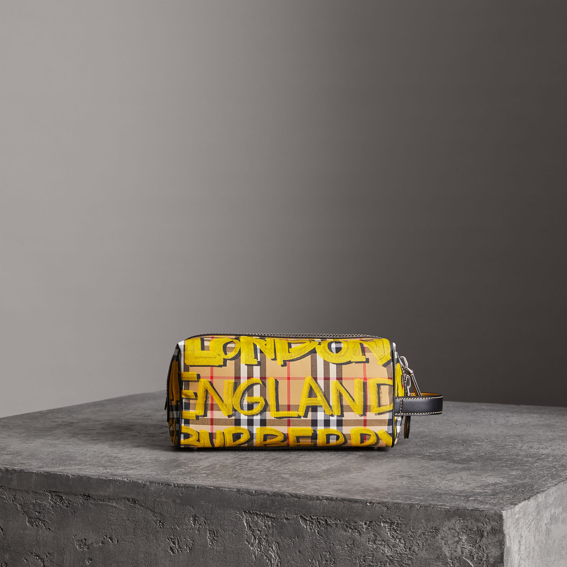 Graffiti Print Vintage Check and Leather Pouch in Bright Yellow/antique Yellow | Burberry Canada - gallery image 0