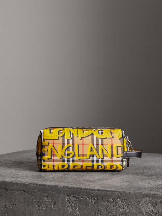 Trousse in pelle con motivo Vintage check e graffiti (Giallo Intenso/giallo Antico)
