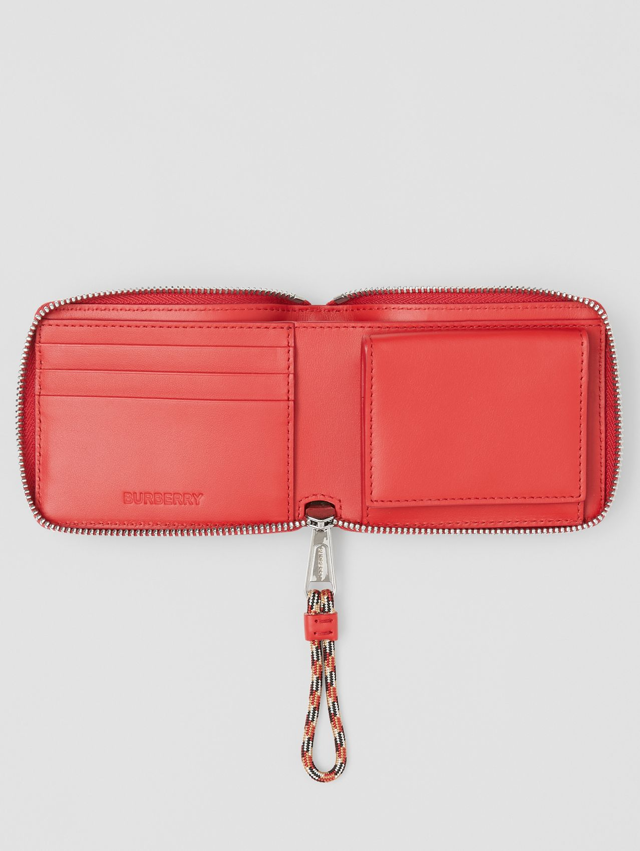 Horseferry Print Leather Ziparound Wallet in Red/white