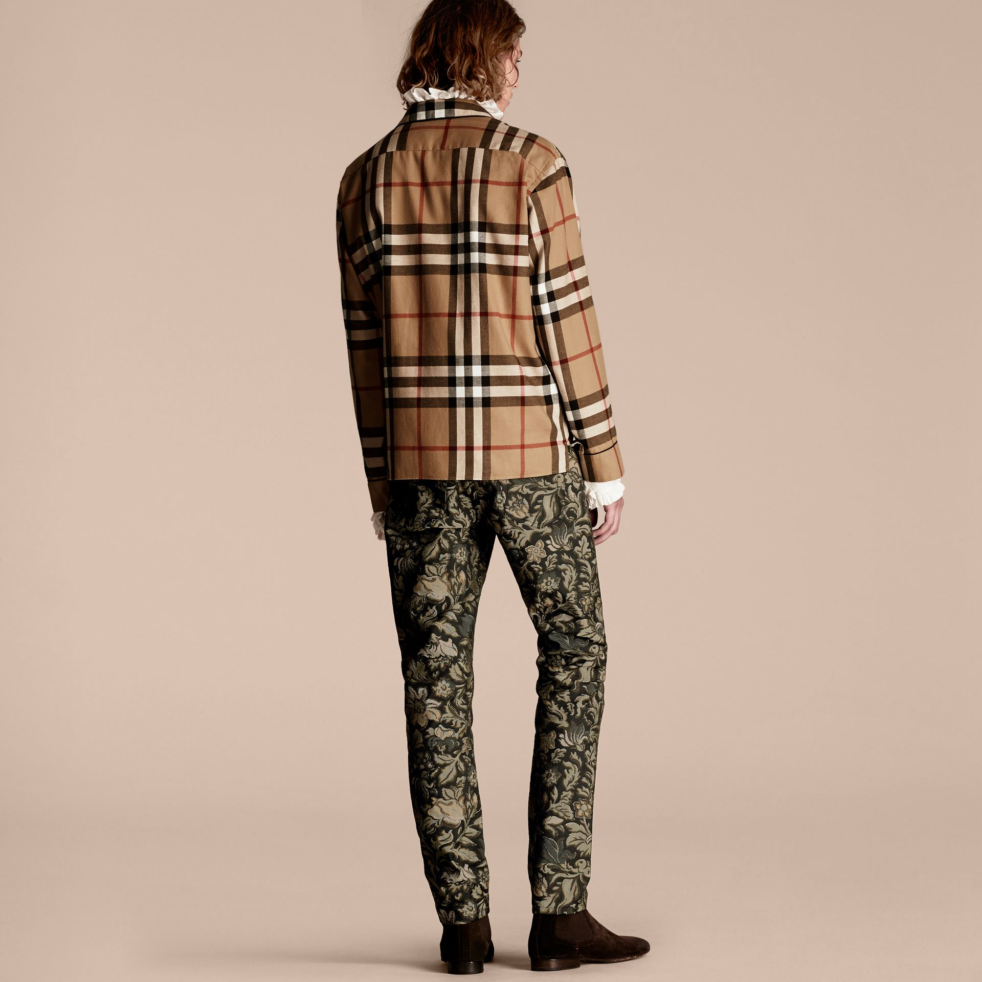 Check Cotton Flannel Pyjama-style Shirt - gallery image 3