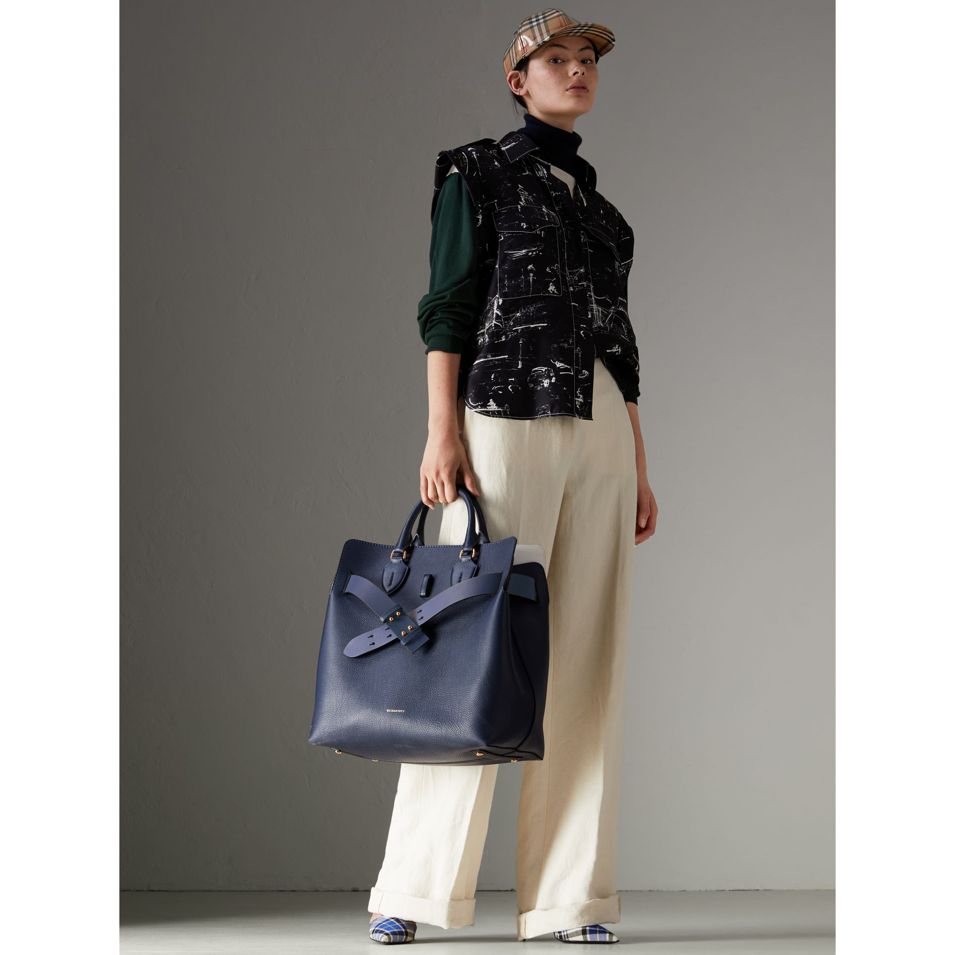 The Large Leather Belt Bag in Regency Blue | Burberry Singapore - gallery image 2