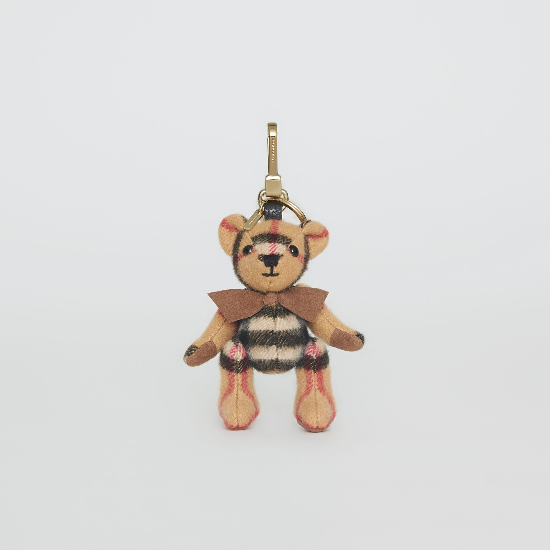 Bijou porte-clés Thomas Bear en cachemire à motif Vintage check (Jaune Antique) | Burberry - photo de la galerie 3