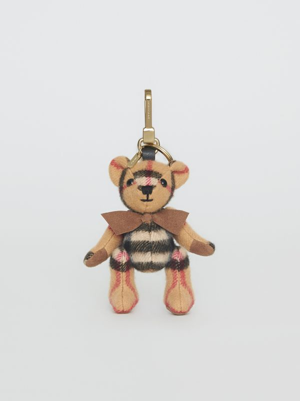 Thomas Bear Charm in Vintage Check Cashmere in Antique Yellow | Burberry - cell image 3
