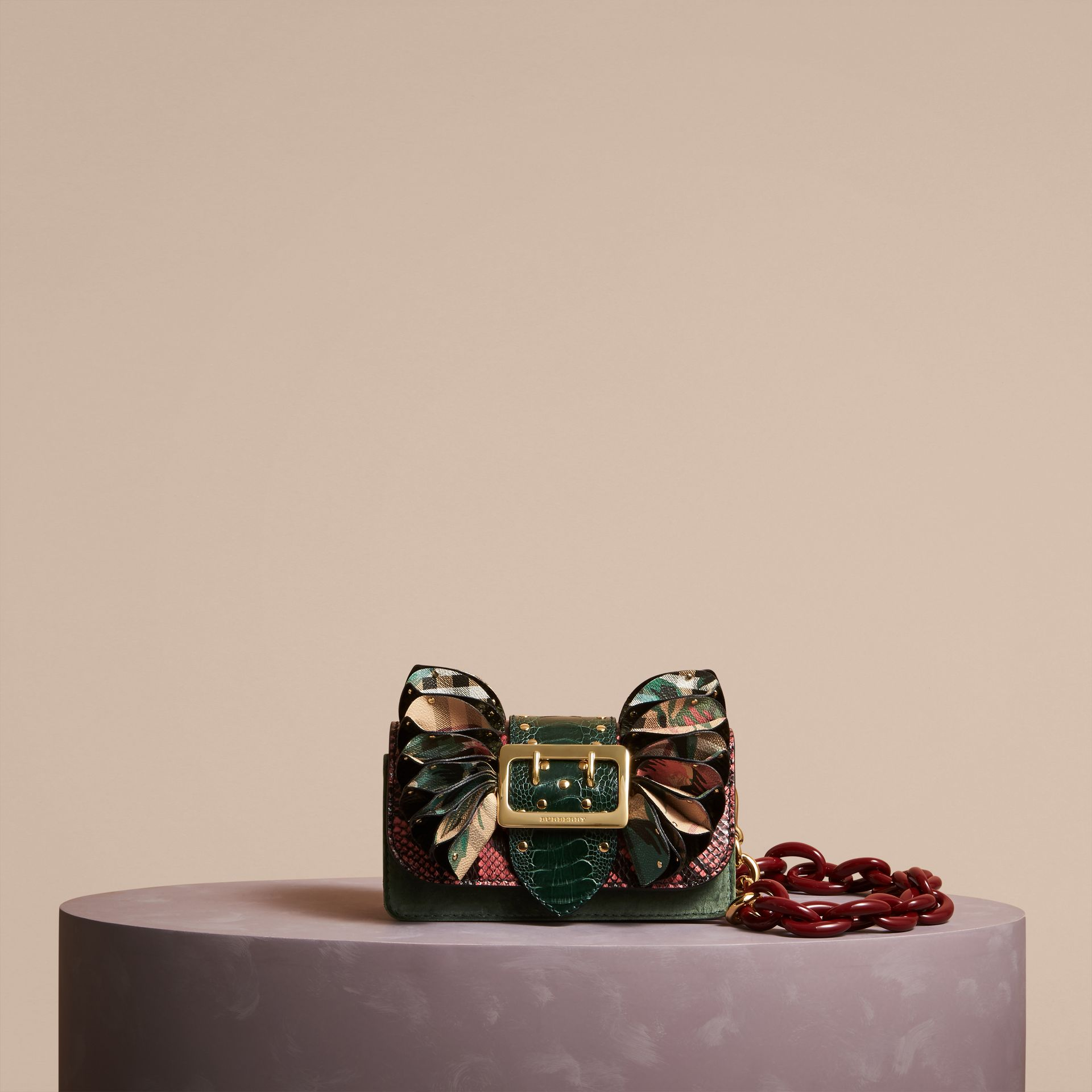 The Ruffle Buckle Bag in Snakeskin, Ostrich and Check in Rose Pink - Women | Burberry - gallery image 7