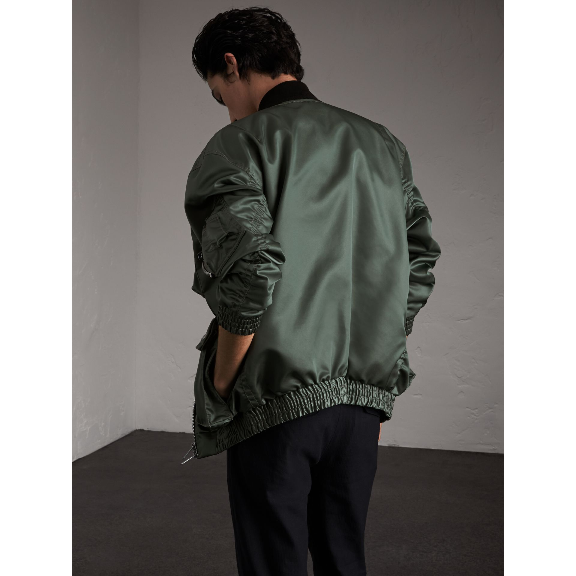 Contrast Collar Lightweight Flying Jacket in Storm Green - Men | Burberry - gallery image 2