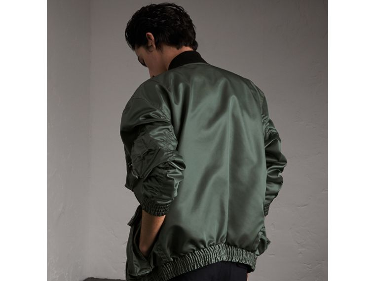 Contrast Collar Lightweight Flying Jacket in Storm Green - Men | Burberry - cell image 1