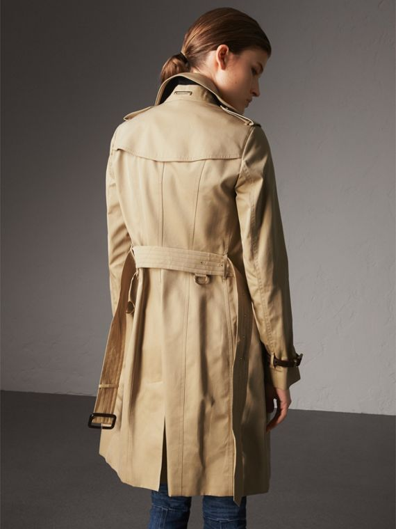 Leather Trim Cotton Gabardine Trench Coat in Honey - Women | Burberry - cell image 2