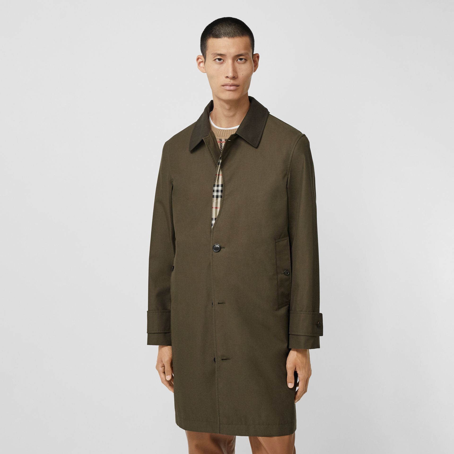 Vintage Check Detail Cotton Gabardine Car Coat in Dark Khaki Green - Men | Burberry - gallery image 5