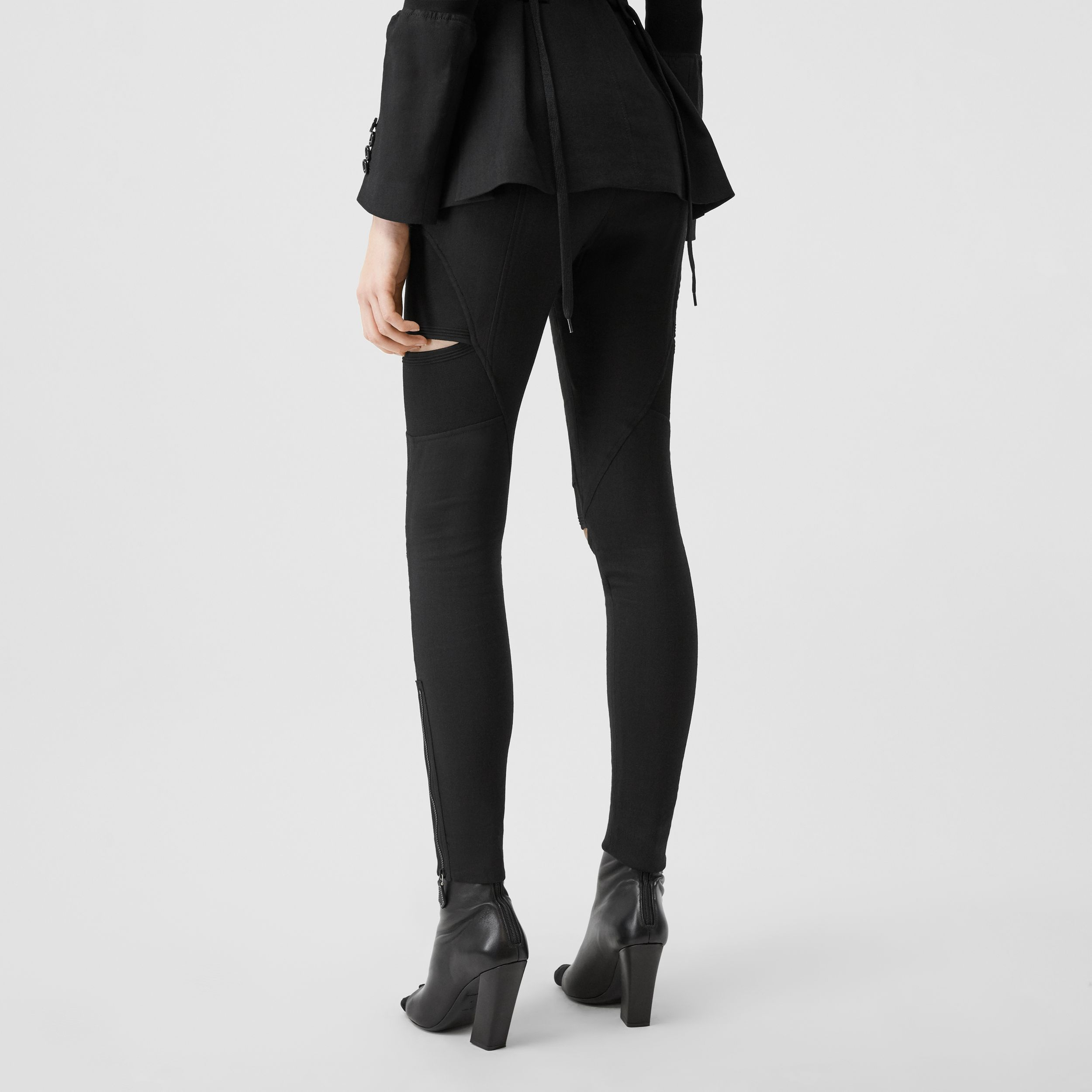 Cut-out Panel Technical Twill Skinny Fit Trousers in Black - Women | Burberry - 3