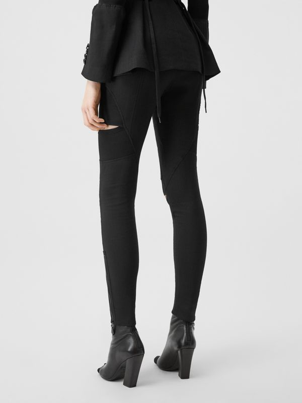 Cut-out Panel Technical Twill Skinny Fit Trousers in Black - Women | Burberry - cell image 2