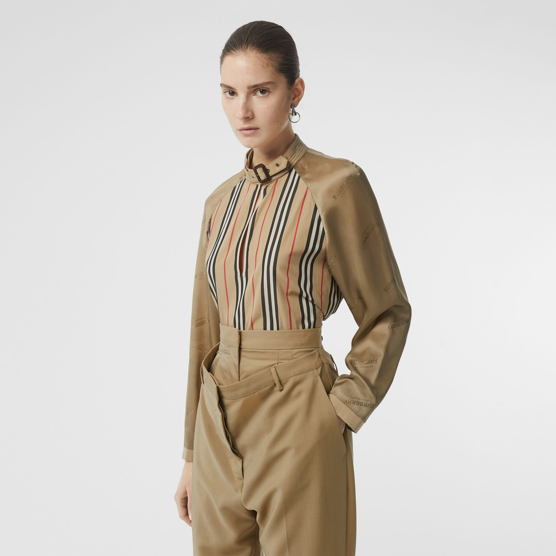 Cut-out Detail Icon Stripe Cotton Blouse in Archive Beige - Women | Burberry - gallery image 0