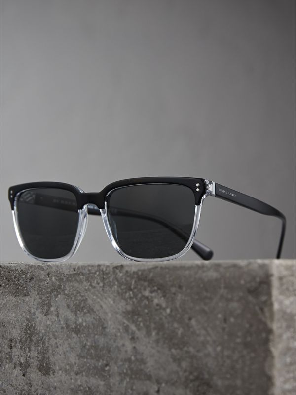 Square Frame Sunglasses in Black - Men | Burberry Australia - cell image 2