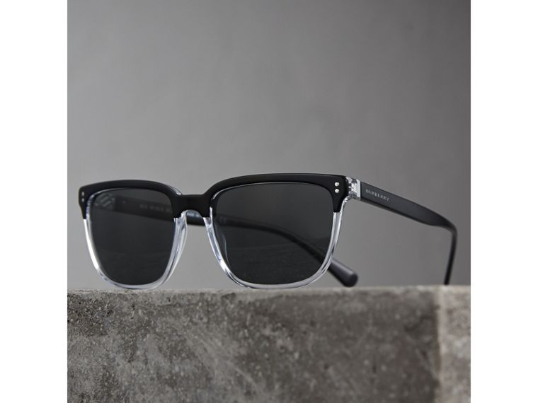 Square Frame Sunglasses in Black - Men | Burberry Hong Kong - cell image 2